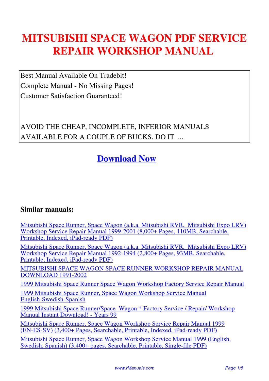 hight resolution of mitsubishi space wagon service repair workshop manual pdf