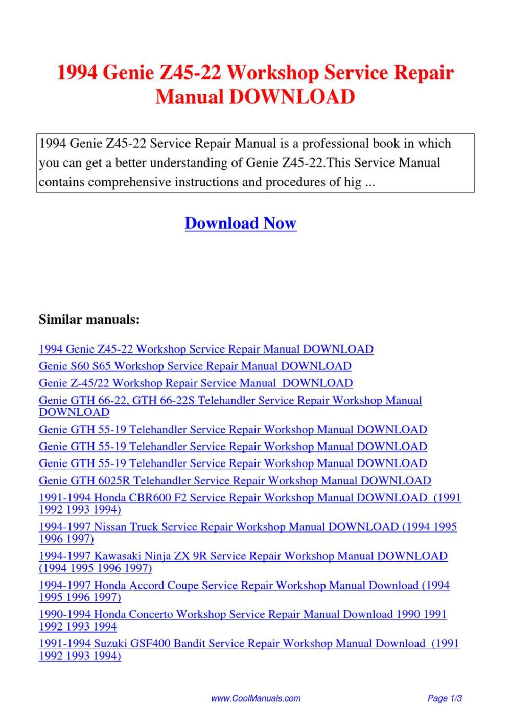 medium resolution of  page 1 genie z45 22 wiring diagram genie powered access genie s85 genie tz 34 20