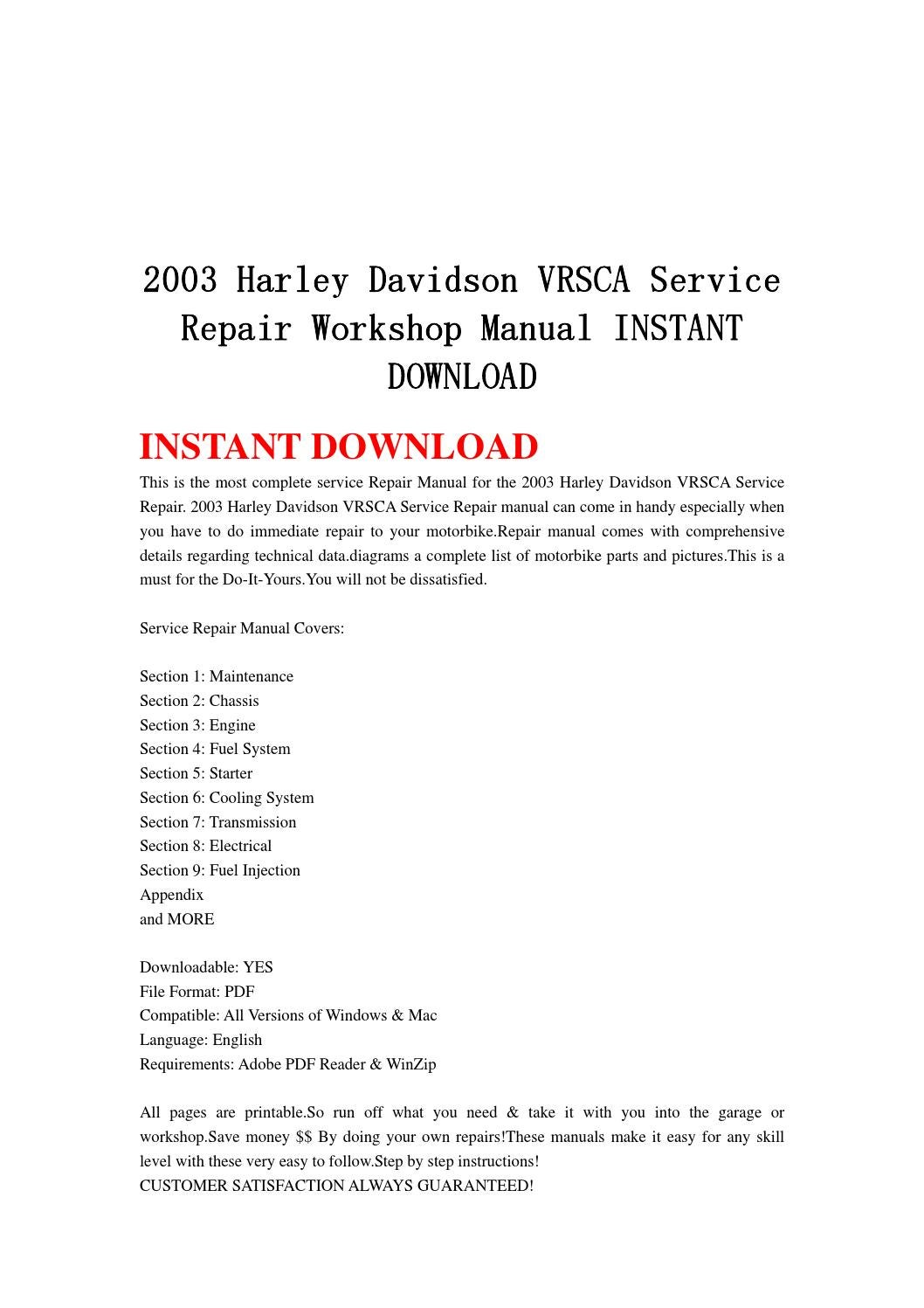 hight resolution of 2003 harley davidson vrsca service repair workshop manual instant download by hytggse issuu