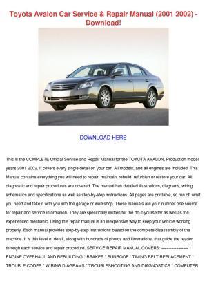 Toyota Avalon Car Service Repair Manual 2001 by LouisaKerr