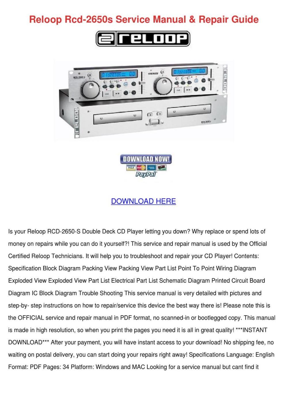 medium resolution of reloop rcd 2650s service manual repair guide