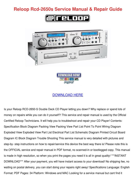 hight resolution of reloop rcd 2650s service manual repair guide