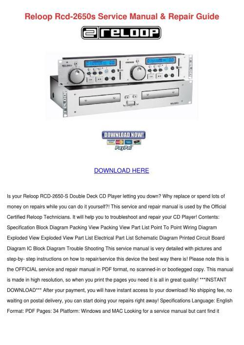 small resolution of reloop rcd 2650s service manual repair guide