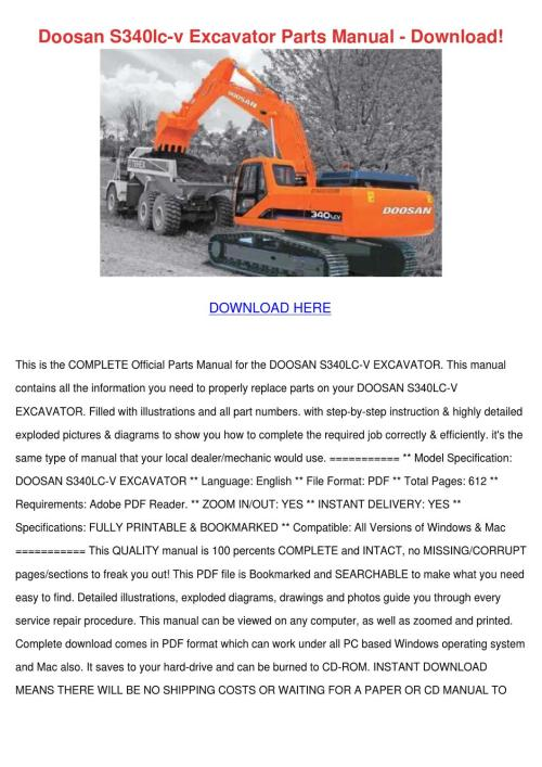small resolution of doosan s340lc v excavator parts manual downlo by philipppeltier issuu