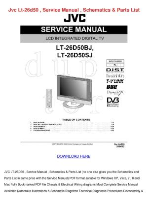 Jvc Lt 26d50 Service Manual Schematics Parts by