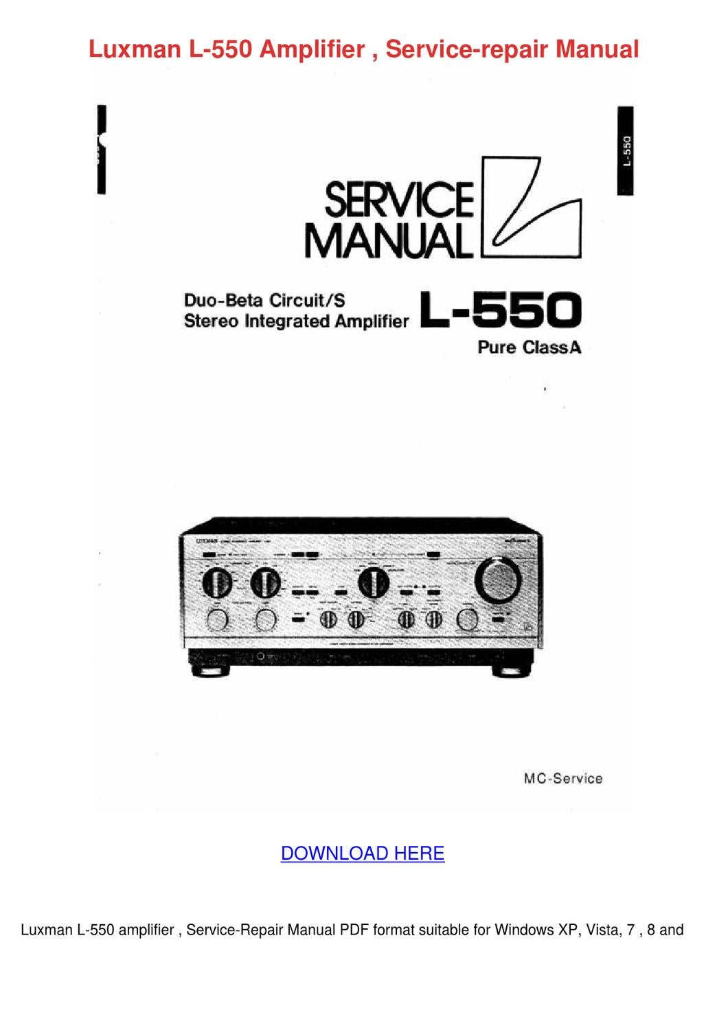 Luxman L 550 Amplifier Service Repair Manual by