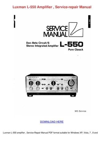 Luxman L 550 Amplifier Service Repair Manual by