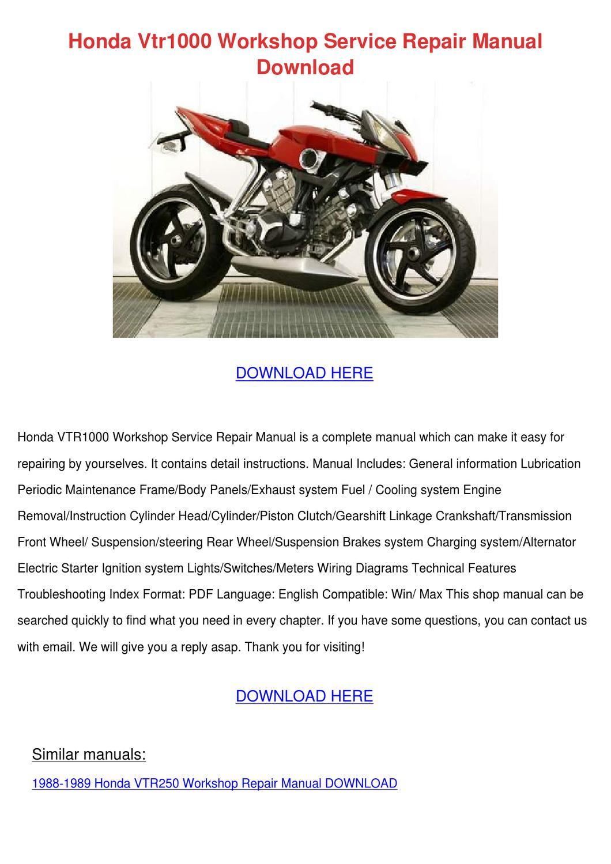 hight resolution of honda vtr1000 workshop service repair manual