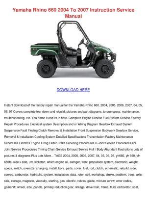 Yamaha Rhino 660 2004 To 2007 Instruction Ser by
