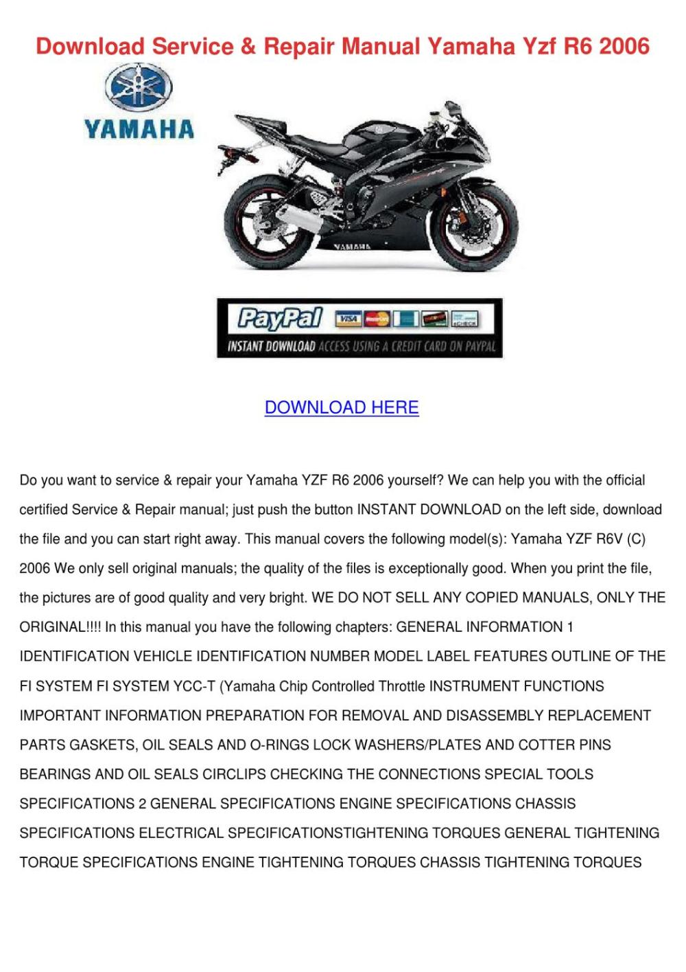 medium resolution of download service repair manual yamaha yzf r6