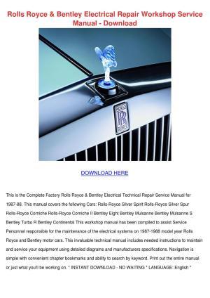 Rolls Royce Bentley Electrical Repair Worksho by