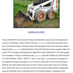 Bobcat 843 Parts Diagram 2003 Chevy Trailblazer Wiring Diagrams Skid Steer Loader Manual By Leighlawler