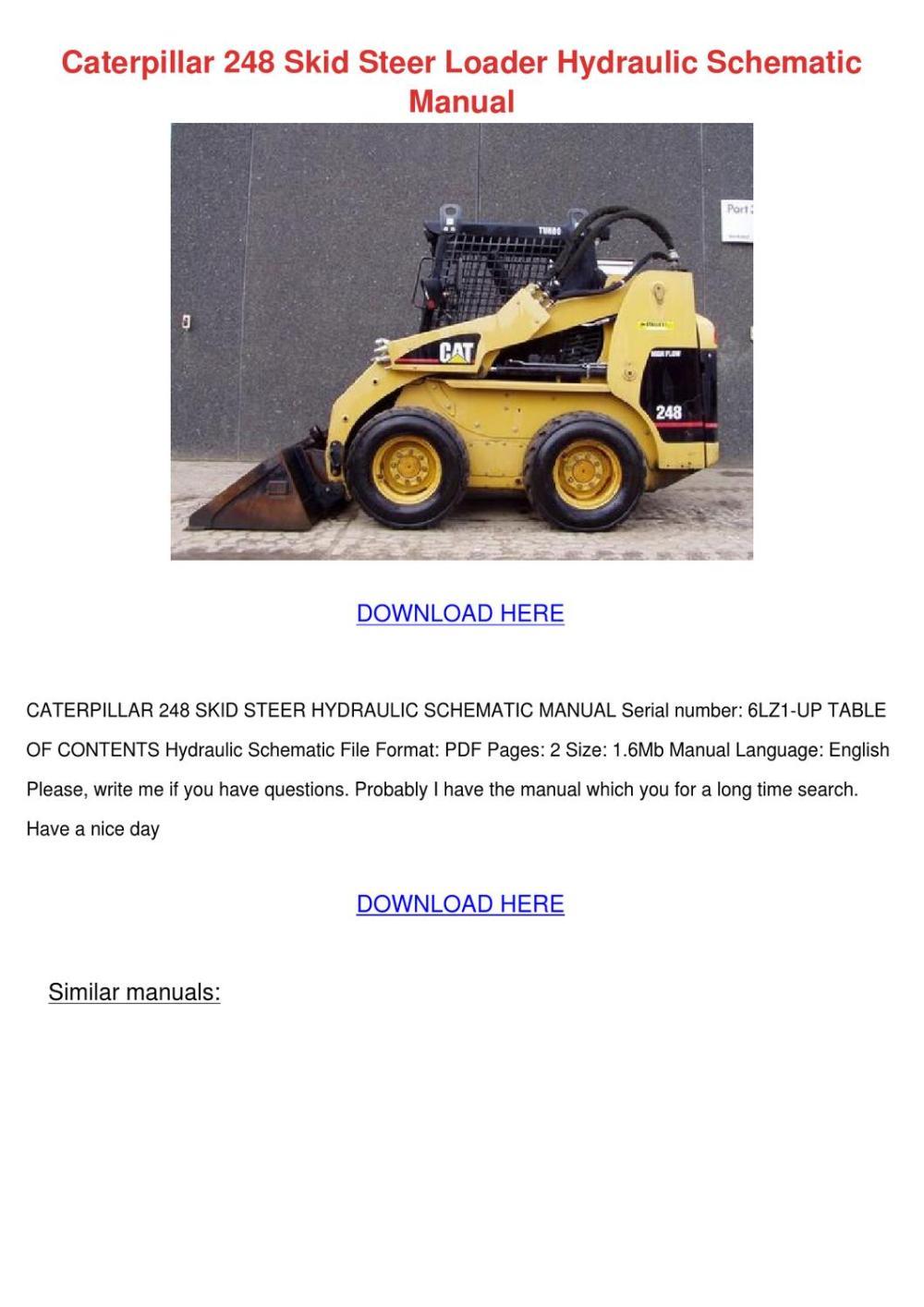 medium resolution of caterpillar 248 skid steer loader hydraulic s