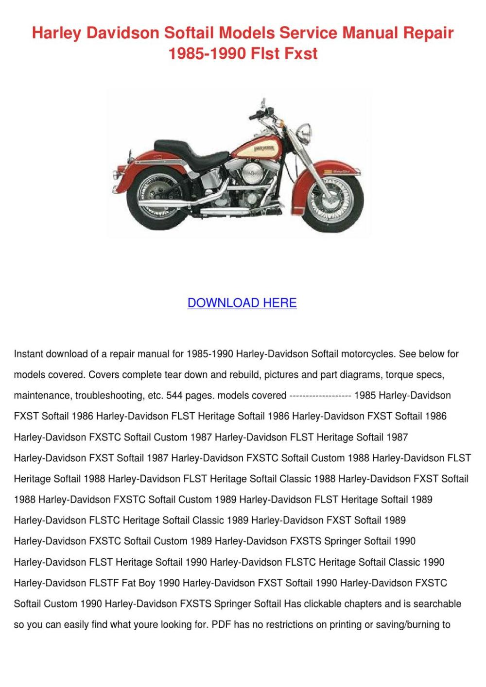 medium resolution of harley davidson softail models service manual