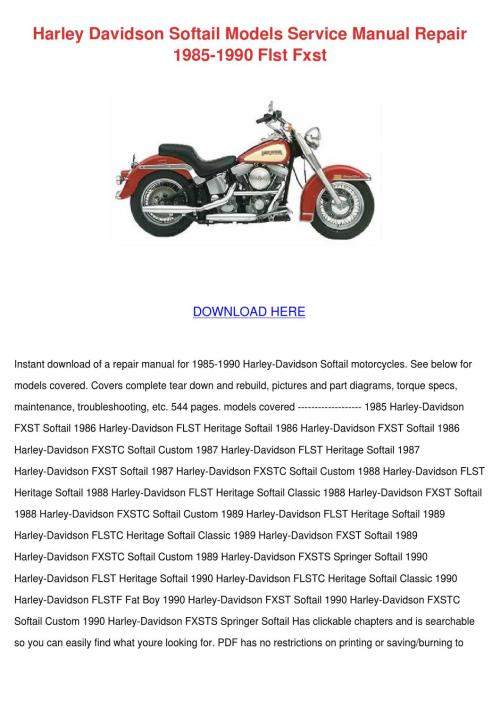 small resolution of harley davidson softail models service manual