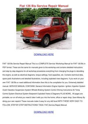 Fiat 126 Bis Service Repair Manual by ElissaDelgado  Issuu