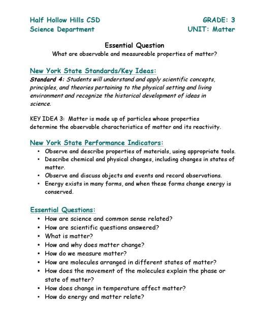 small resolution of Grade 3 matter unit by Half Hollow Hills Schools - issuu