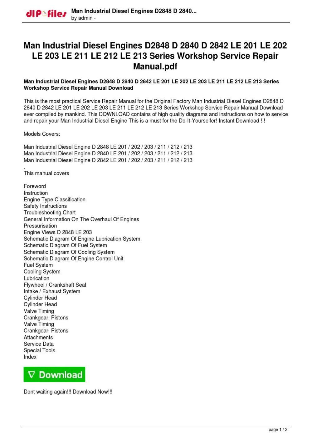 medium resolution of man industrial diesel engines d2848 d 2840 d 2842 le 201 le 202 le 203 le 211 le 212 le 213 series w by jierui kong issuu