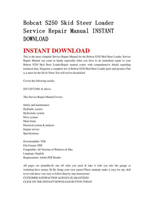 small resolution of bobcat s250 skid steer loader service repair manual instant download by edrf456 issuu