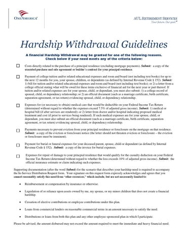 401khardshipwithdrawalparticipantguidelines by Mattress Firm Benefits  Issuu