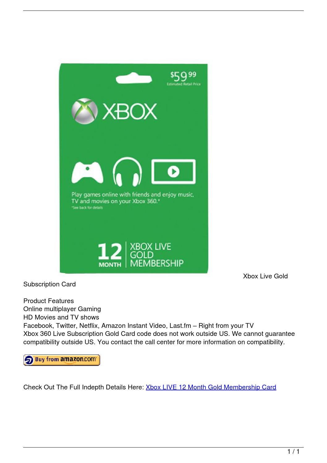 Xbox LIVE 12 Month Gold Membership Card By Alarick18 Issuu