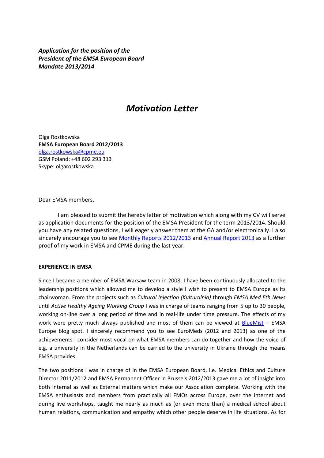 Motivation Letter Emsa Presidency 2013 2014 Olga Rostkowska By EMSA Europe Issuu