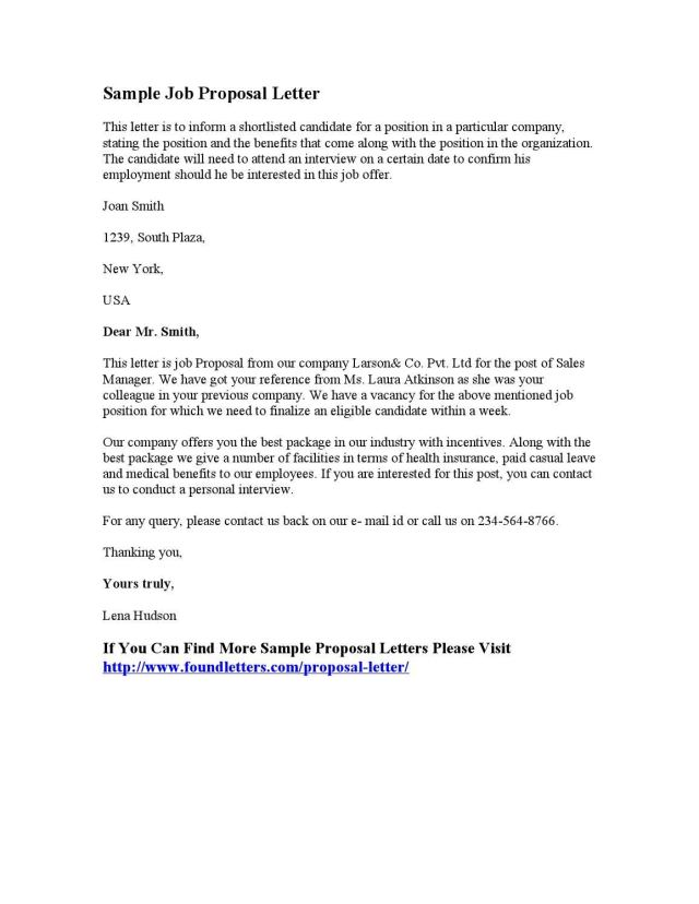 Sample Job Proposal Letter by Found Letters - issuu