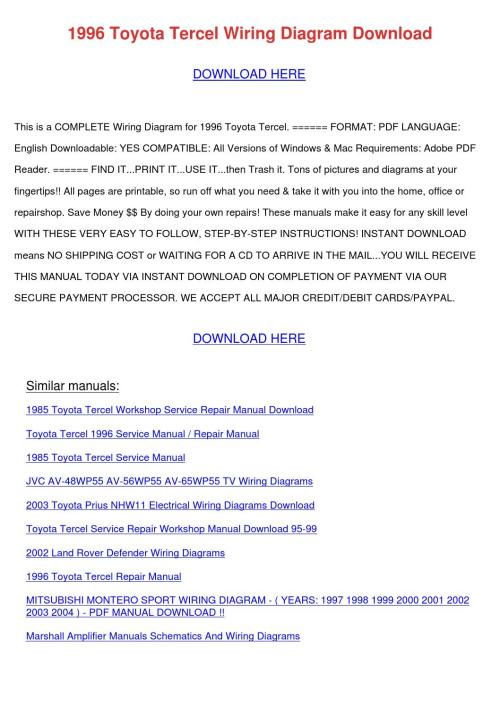 small resolution of 1996 toyota tercel wiring diagram download by marymcclung issuu