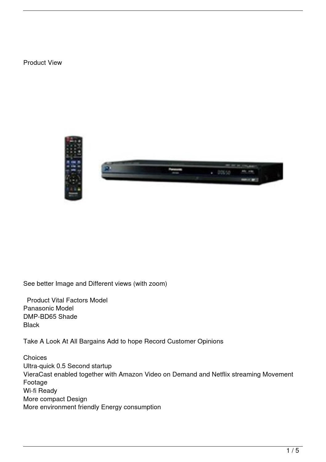 Panasonic DMP-BD65 Blu-Ray Disc Player (Black) by Tyrone