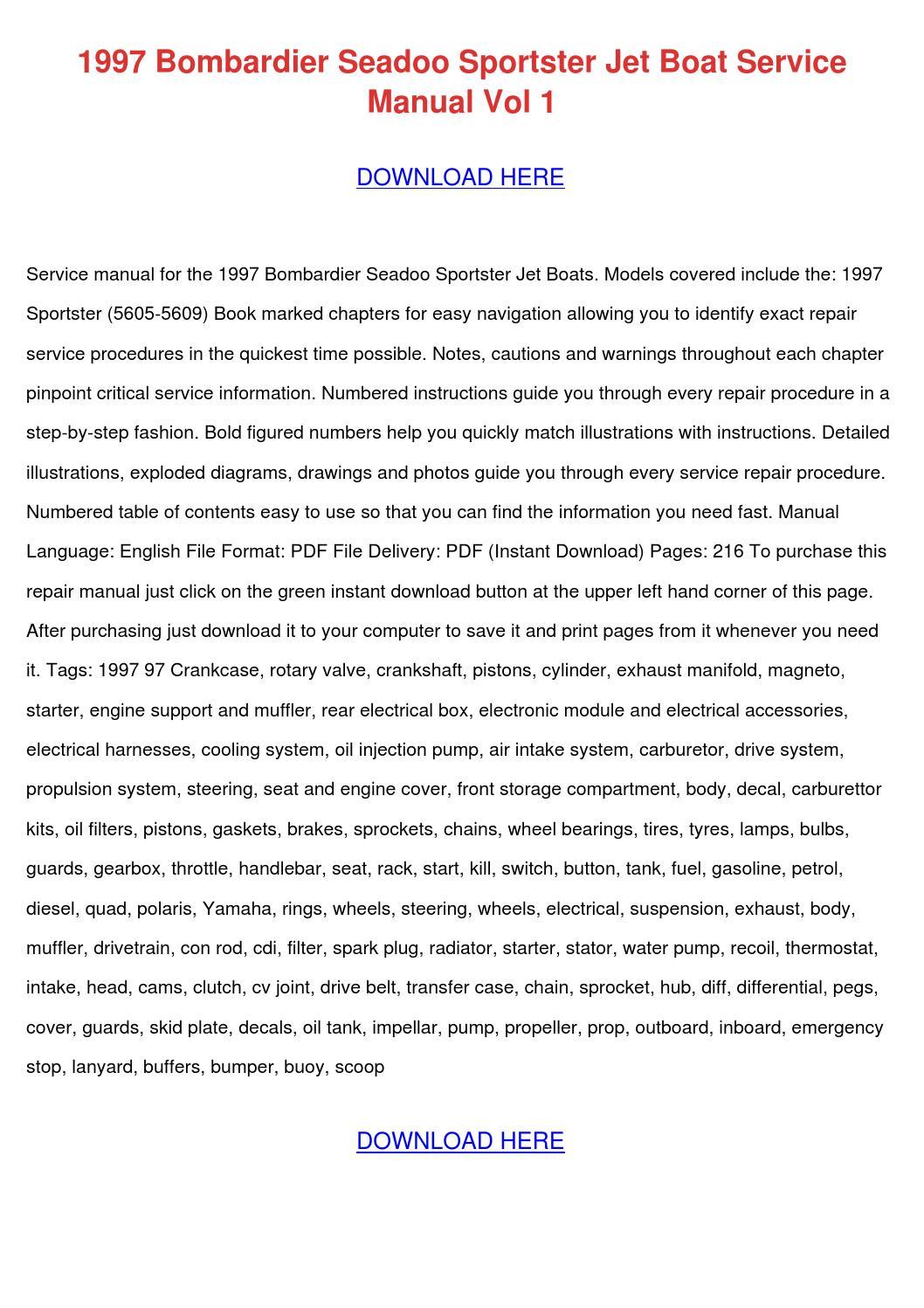 1995 Seadoo Sportster Service Manual
