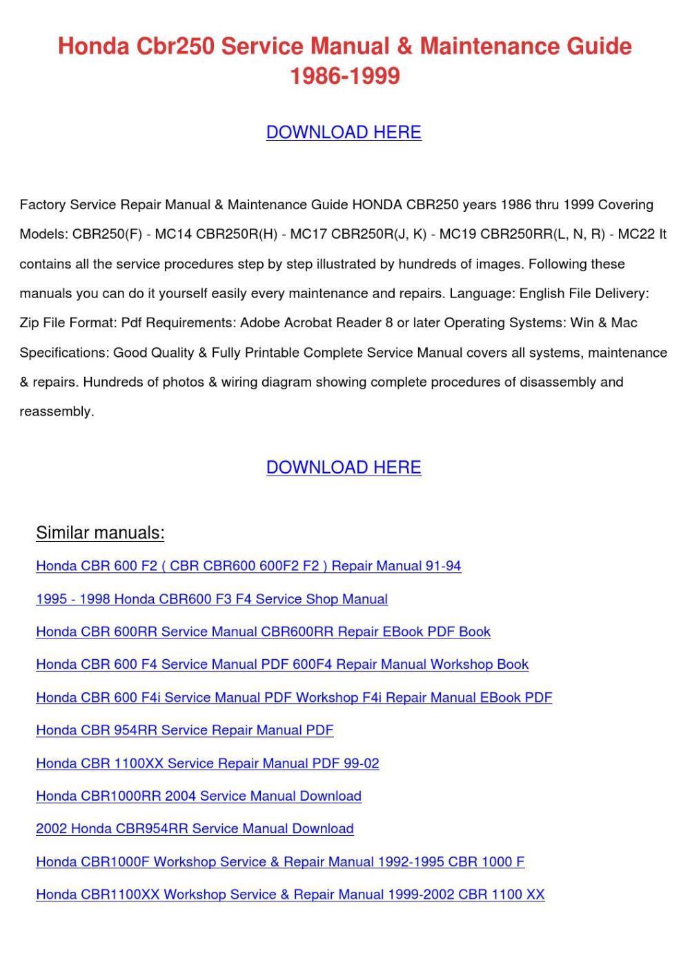 medium resolution of honda cbr250 service manual maintenance guide by tomokostott issuu