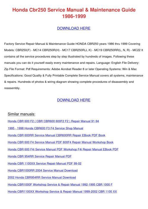 small resolution of honda cbr250 service manual maintenance guide by tomokostott issuu
