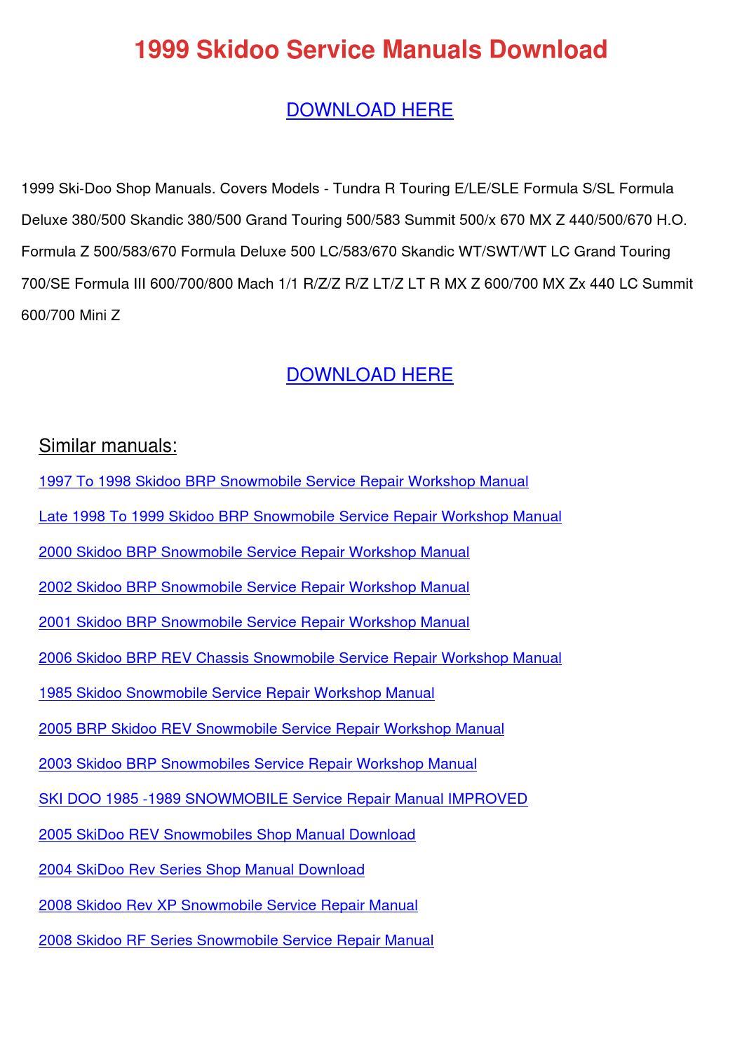 2000 2001 ski doo snowmobile repair service manual ebook
