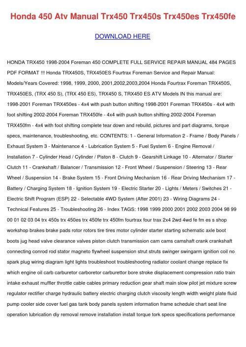 small resolution of honda 450 atv manual trx450 trx450s trx450es by joseherrington issuu