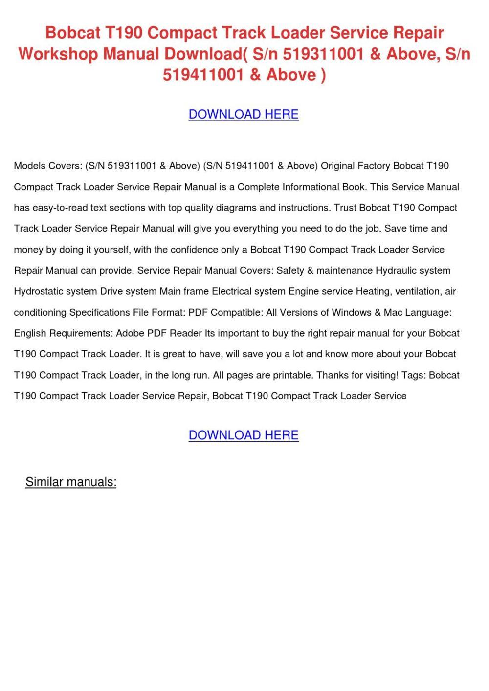 medium resolution of bobcat t190 compact track loader service repa