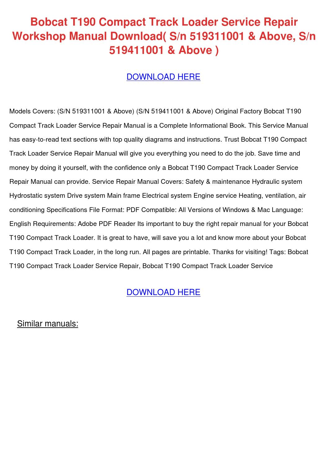 hight resolution of bobcat t190 compact track loader service repa