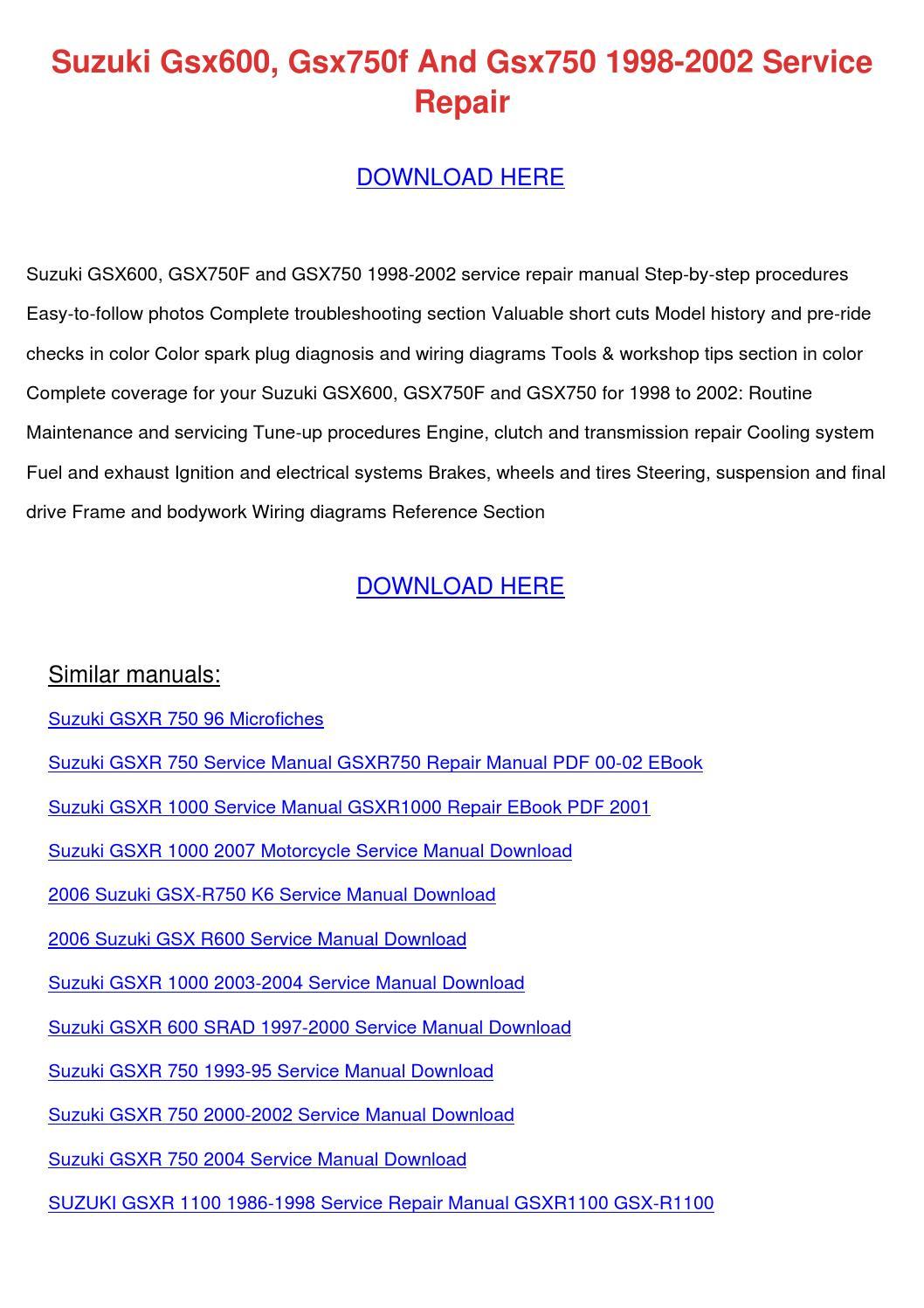 hight resolution of suzuki gsx600 gsx750f and gsx750 1998 2002 se
