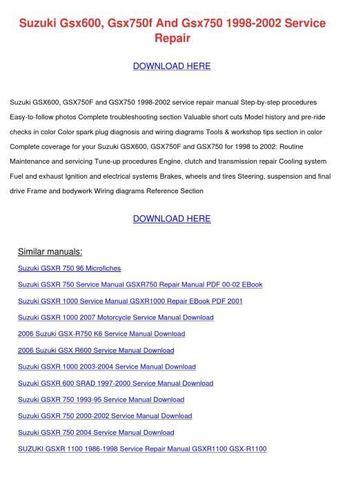 small resolution of suzuki gsx600 gsx750f and gsx750 1998 2002 se