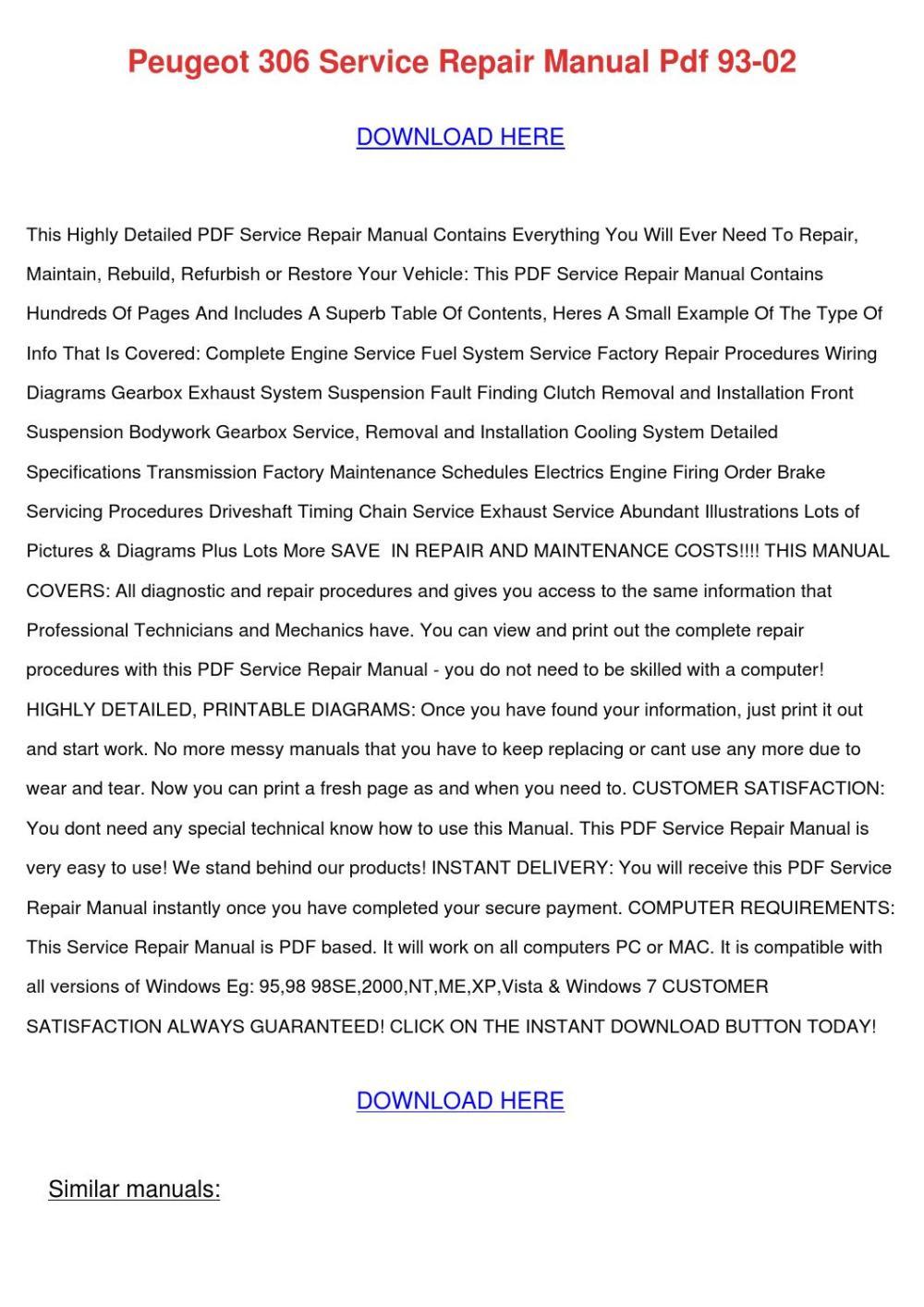 medium resolution of peugeot 306 service repair manual pdf 93 02