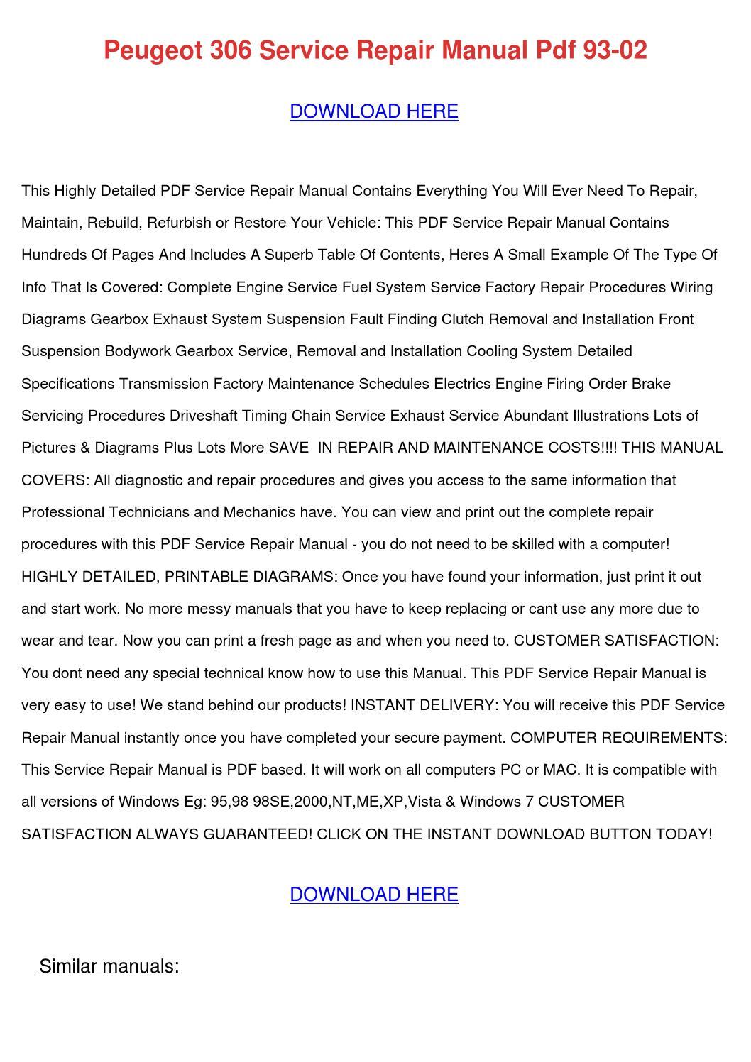 hight resolution of peugeot 306 service repair manual pdf 93 02