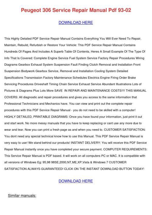 small resolution of peugeot 306 service repair manual pdf 93 02
