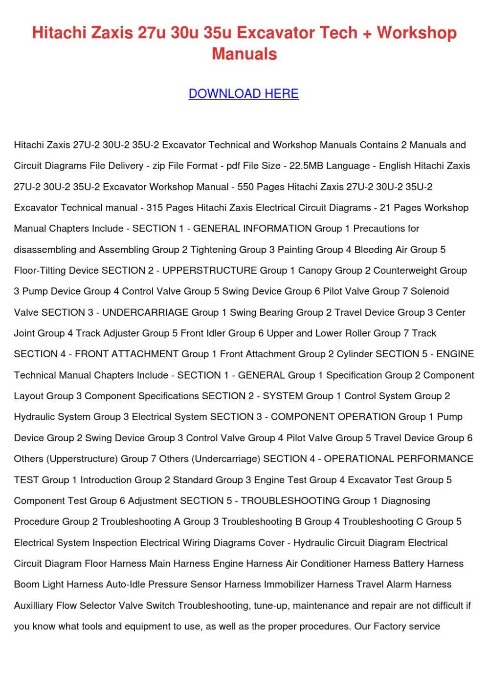 medium resolution of hitachi zaxis 27u 30u 35u excavator tech work