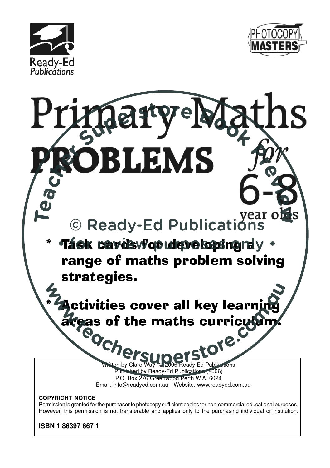 Primary Maths Problems Series: Book 1 by Teacher