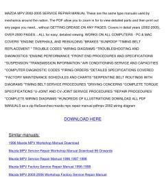 mazda mpv 2002 2005 service repair manual by sanorarowland issuu [ 1058 x 1497 Pixel ]
