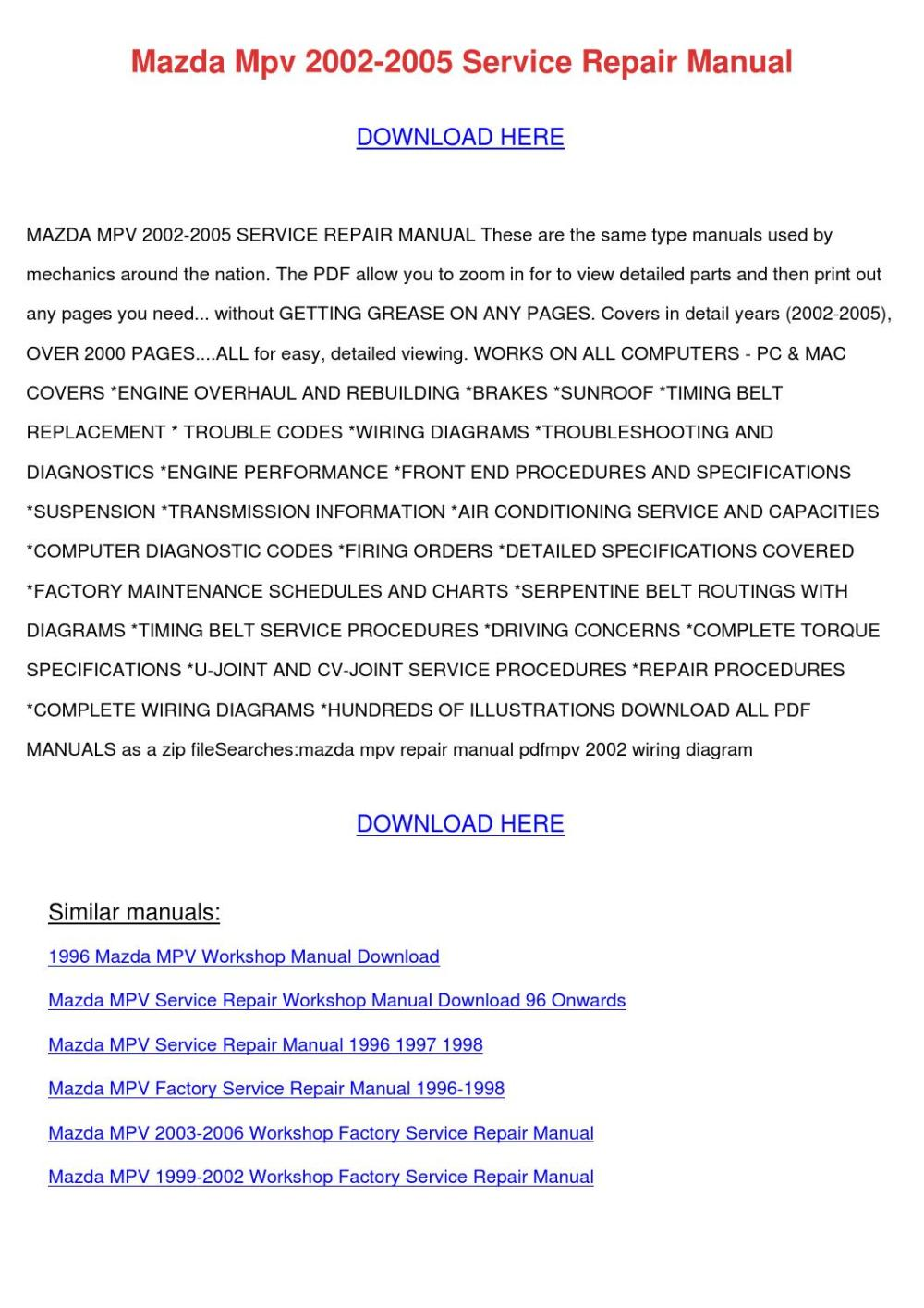 medium resolution of mazda mpv 2002 2005 service repair manual by sanorarowland issuu