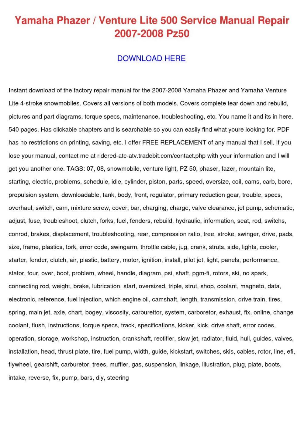 medium resolution of yamaha phazer venture lite 500 service manual