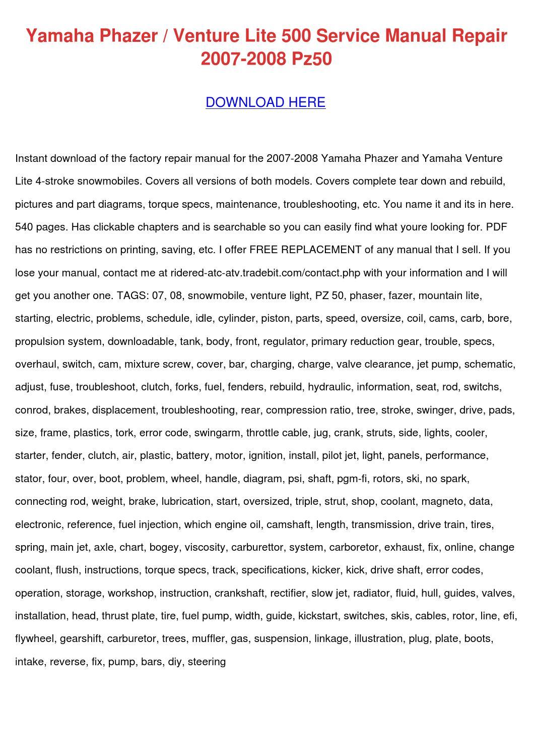 hight resolution of yamaha phazer venture lite 500 service manual