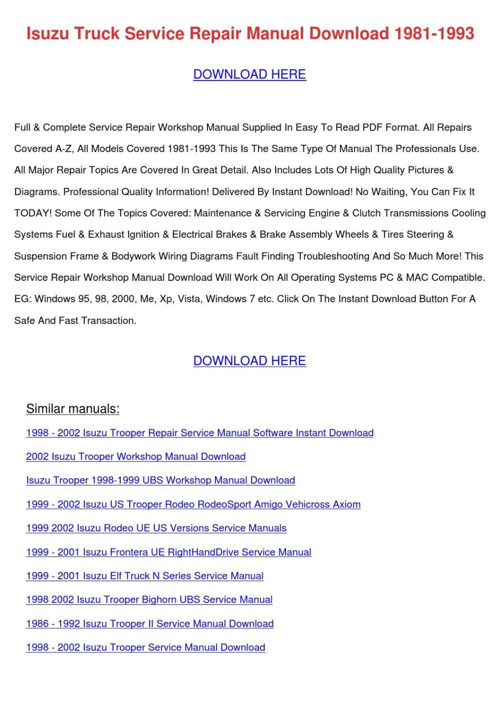 medium resolution of 2004 isuzu ascender repair manual