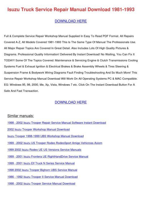 small resolution of 2004 isuzu ascender repair manual