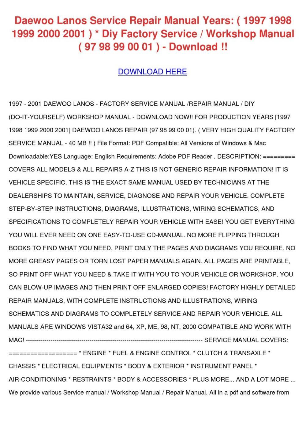 medium resolution of daewoo lanos service repair manual years 1997 by bruceanthony issuu daewoo lacetti stereo wiring diagram